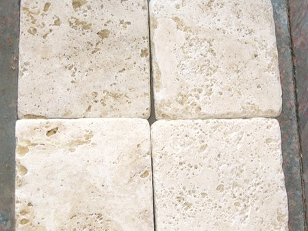 4x4 Tumbled Classic Travertine